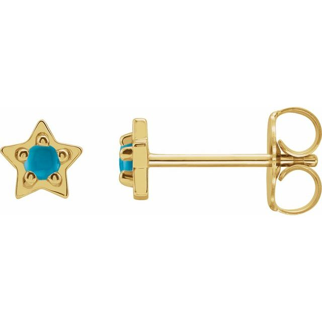 14K Yellow Turquoise Star Earrings