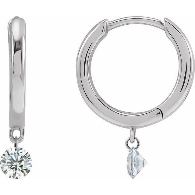 14K White 1/3 CTW Drilled Diamond Hinged Hoop Earrings