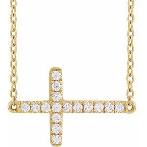 14K Yellow 1/6 CTW Lab-Grown Diamond Sideways Cross Necklace