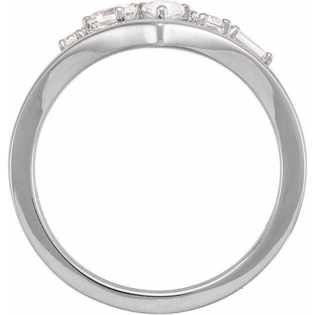 14K White 1/2 CTW Lab-Grown Diamond V Ring