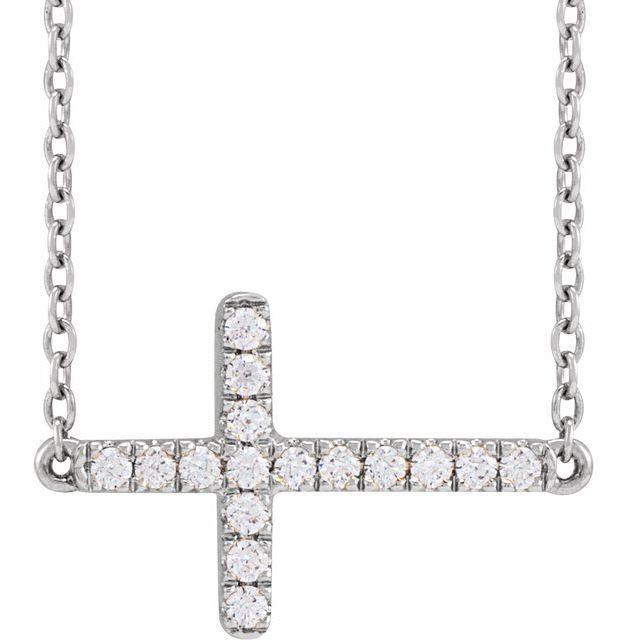 14K White 1/6 CTW Lab-Grown Diamond Sideways Cross Necklace