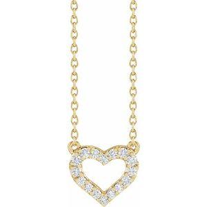 "14K Yellow 1/5 CTW Lab-Grown Diamond Heart 16-18"" Necklace"