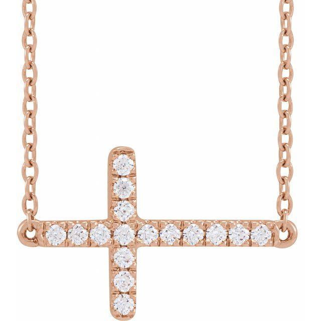 14K Rose 1/6 CTW Lab-Grown Diamond Sideways Cross Necklace