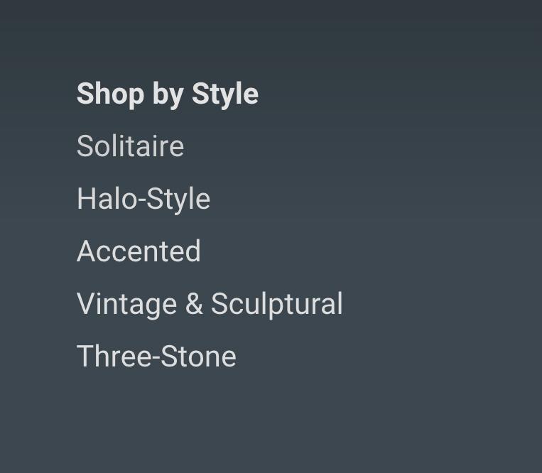 shop by style menu