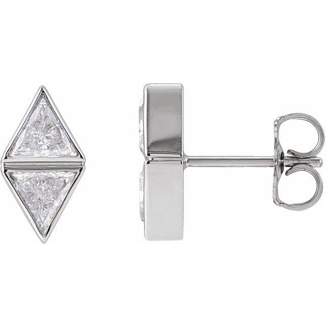 14K White 5/8 CTW Diamond Two-Stone Bezel-Set Earrings