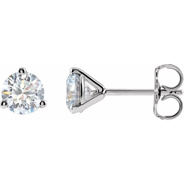 14K White 1 CTW Lab-Grown Diamond Stud Earrings