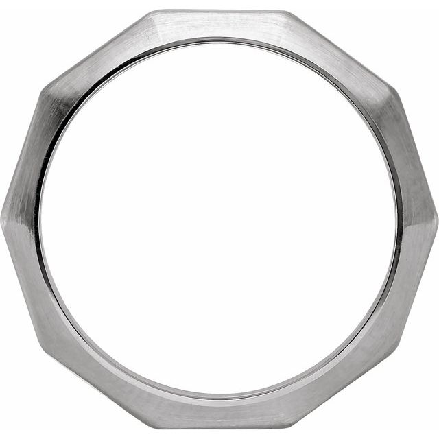 14K White 3 mm Geometric Decagon Band Size 6