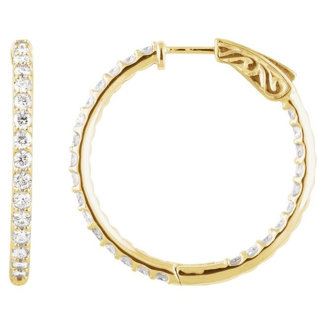 14K Yellow 2 CTW Diamond Inside-Outside 29.5 mm Hoop Earrings