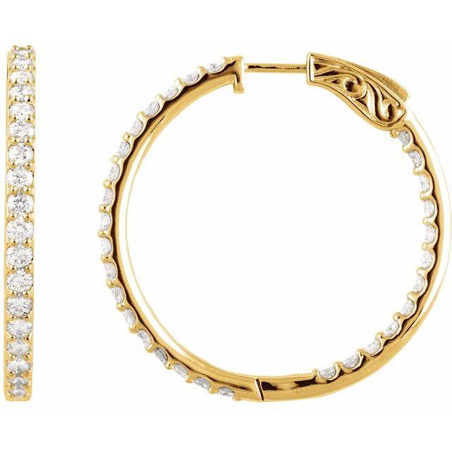 14K Yellow 3 CTW Diamond Inside-Outside 34.5 mm Hoop Earrings