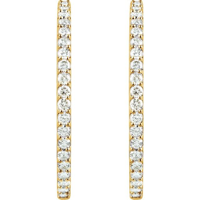 14K Yellow 41.5 mm 5 CTW Natural Diamond Inside-Outside Hinged Hoop Earrings