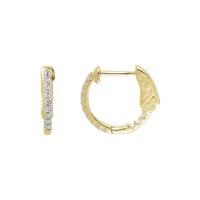 14K Yellow 14.5 mm 1/4 CTW Natural Diamond Inside-Outside Hinged Hoop Earrings