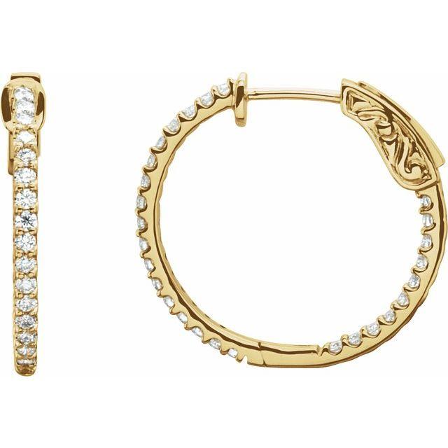 14K Yellow 3/4 CTW Diamond Inside-Outside 23 mm Hoop Earrings