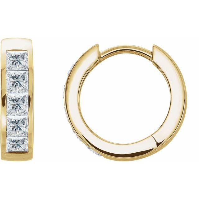 14K Yellow 1/10 CTW Diamond Hoop Earrings