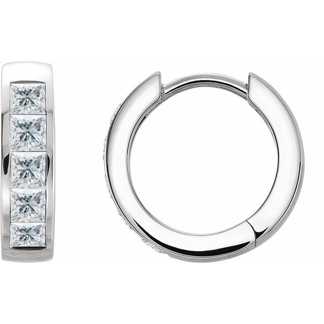 14K White 1/10 CTW Diamond Hoop Earrings