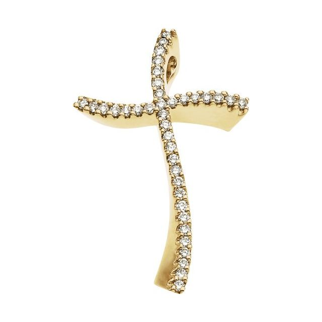 14K Yellow 3/8 CTW Diamond Cross Pendant