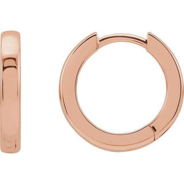 14K Rose 14 mm Hinged Hoop Earrings