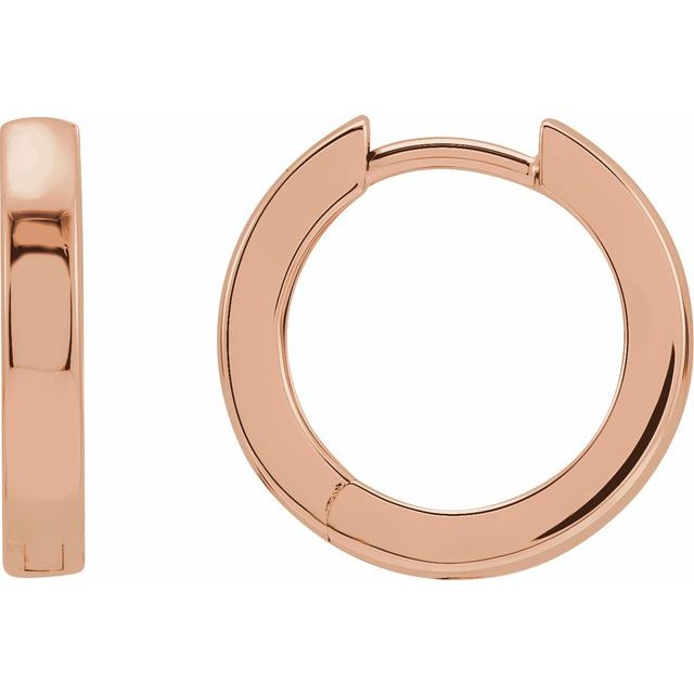 14K Rose 16 mm Hinged Hoop Earrings