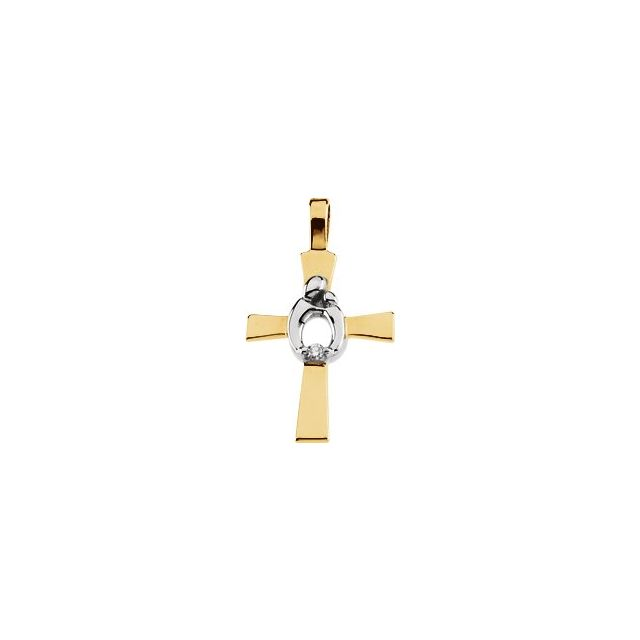 14K Yellow/White .01 CT Diamond Mother and Child® Cross Pendant