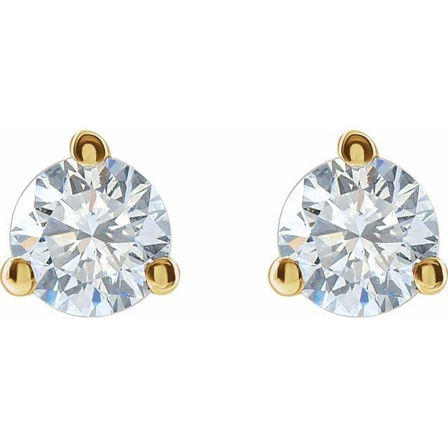14K Yellow 3/4 CTW Lab-Grown Diamond Stud Earrings