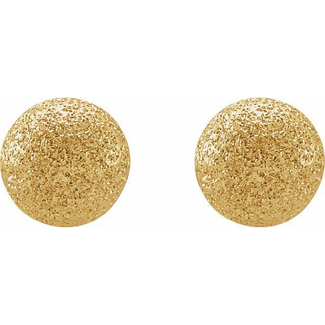 14K Yellow 6 mm Stardust Ball Earrings
