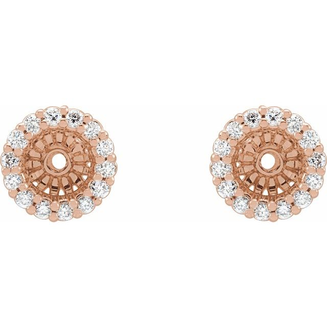 14K Rose 1/6 CTW Diamond Earring Jackets with 4.1 mm ID