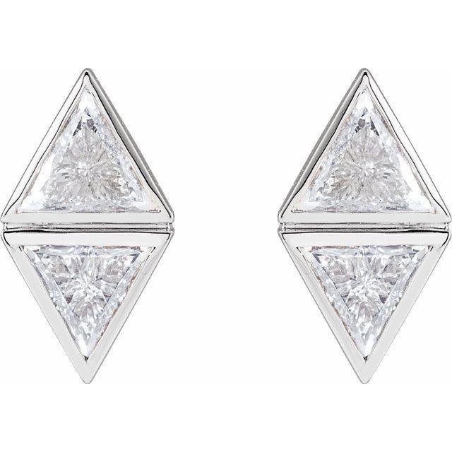 14K White 7/8 CTW Diamond Two-Stone Bezel-Set Earrings