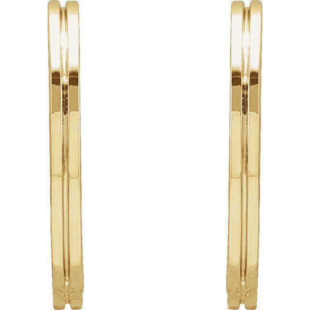 14K Yellow 15 mm Grooved Huggie Earrings