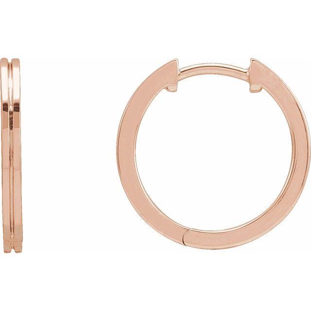 14K Rose 15 mm Grooved Huggie Earrings