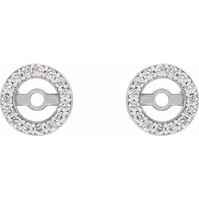 14K White .08 CTW Diamond Earring Jackets with 3.6 mm ID
