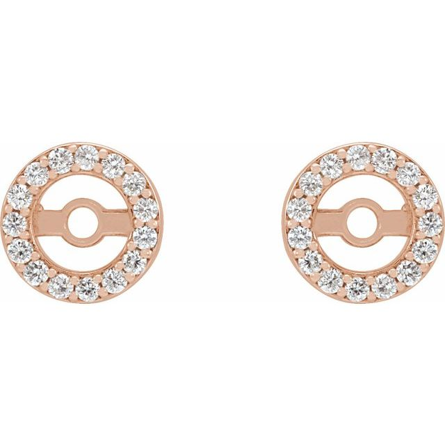 14K Rose .08 CTW Diamond Earring Jackets with 3.6 mm ID
