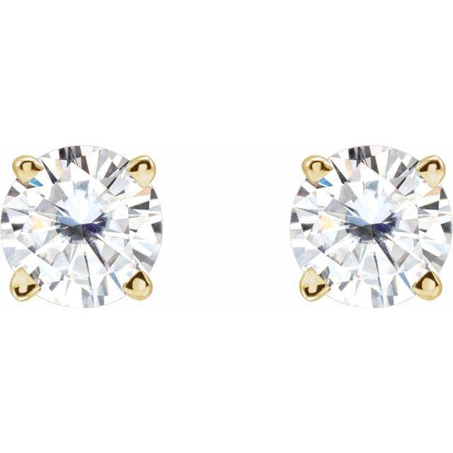 14K Yellow 4.5 mm Round Stuller Lab-Grown Moissanite™ Earrings