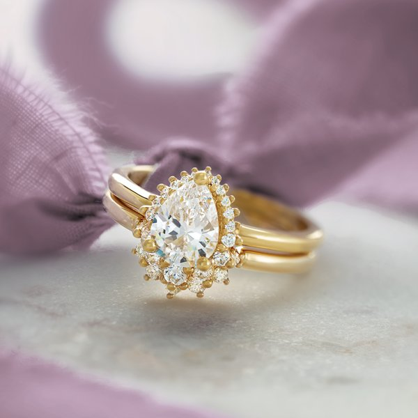 14K Yellow Gold Halo-Style Engagement Ring with Matching Band