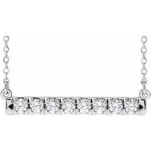 "14K White 1/2 CTW Diamond French-Set Bar 16"" Necklace"
