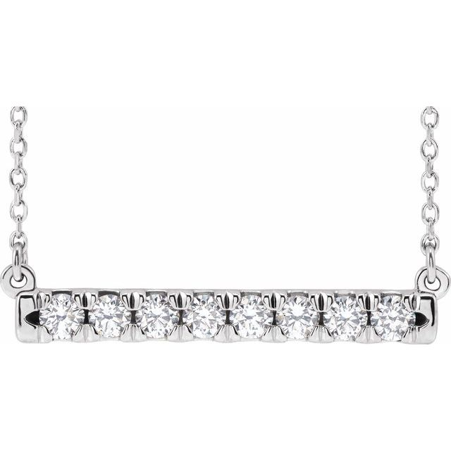 14K White 1/2 CTW Diamond French-Set Bar 16