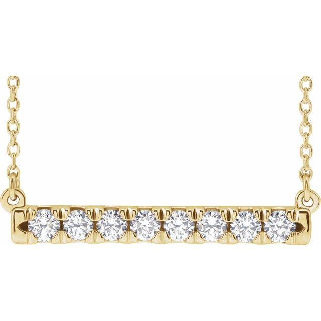14K Yellow 1/2 CTW Lab-Grown Diamond French-Set Bar 16-18