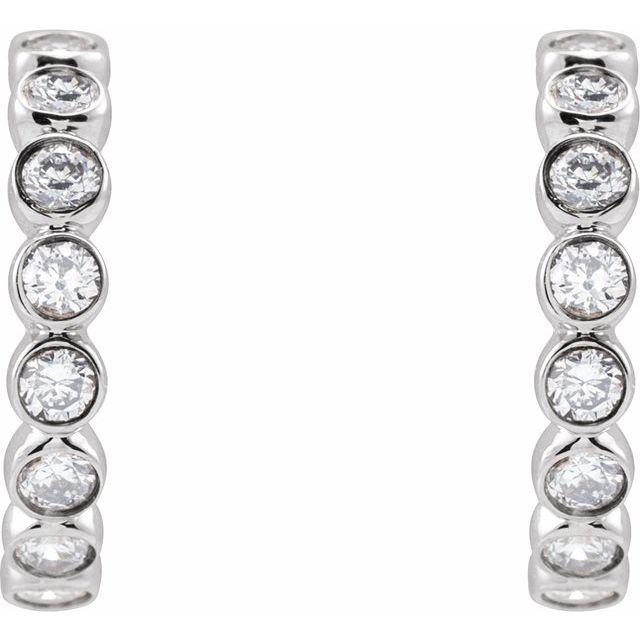 14K White 1/3 CTW Lab-Grown Diamond Huggie Earrings