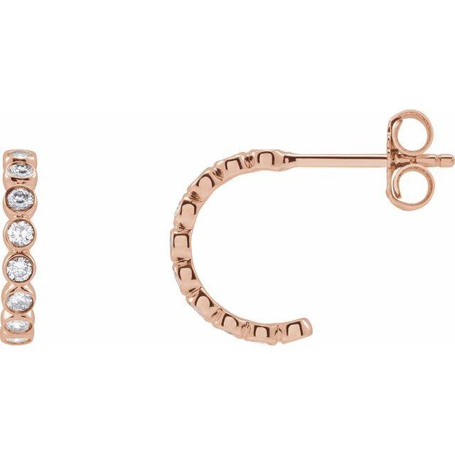 14K Rose 1/3 CTW Lab-Grown Diamond Huggie Earrings