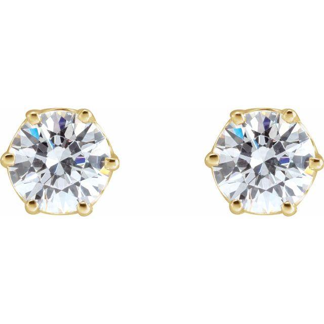 14K Yellow 4.4 mm Round Cubic Zirconia Earrings