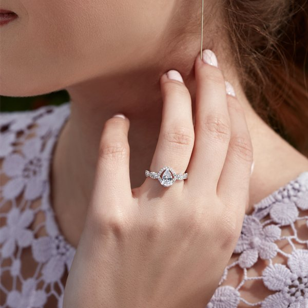 14K White Gold Pear-Shaped Halo-Style Engagement Ring