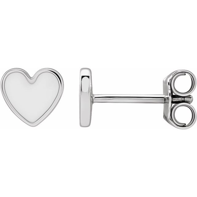 Sterling Silver 5.9x5.5 mm White Enameled Heart Earrings