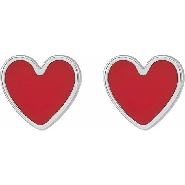 Sterling Silver 5.9x5.5 mm Red Enameled Heart Earrings