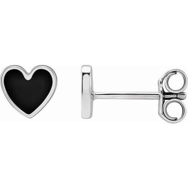 Sterling Silver 5.9x5.5 mm Black Enameled Heart Earrings