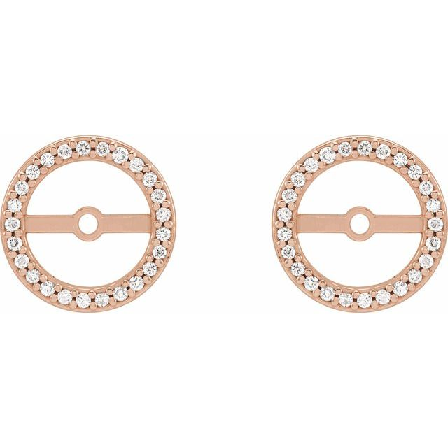 14K Rose 1/8 CTW Diamond Earring Jackets with 7 mm ID