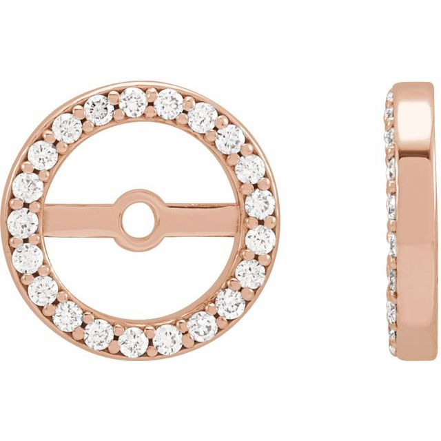 14K Rose 1/10 CTW Diamond Earring Jackets with 6.1 mm ID