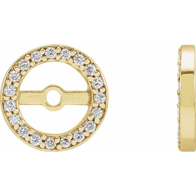 14K Yellow 1/8 CTW Diamond Earring Jackets with 5.3 mm ID