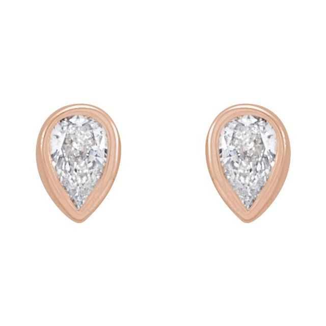 14K Rose 1/10 CTW Diamond Micro Bezel-Set Earrings