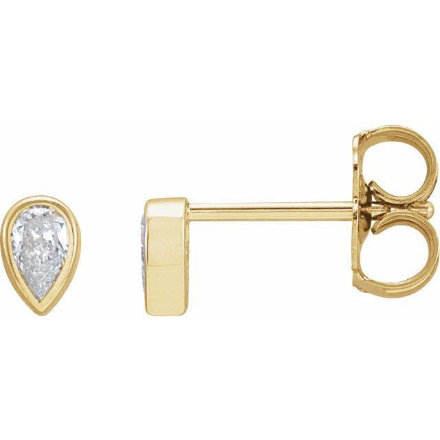 14K Yellow 1/10 CT Diamond Micro Bezel-Set Single Earring