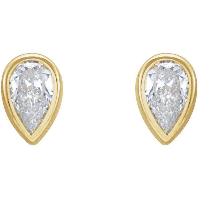 14K Yellow 1/5 CTW Diamond Micro Bezel-Set Earrings