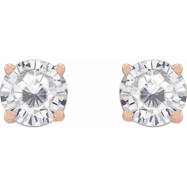 14K Rose 5 mm Round Stuller Lab-Created Moissanite™ Earrings
