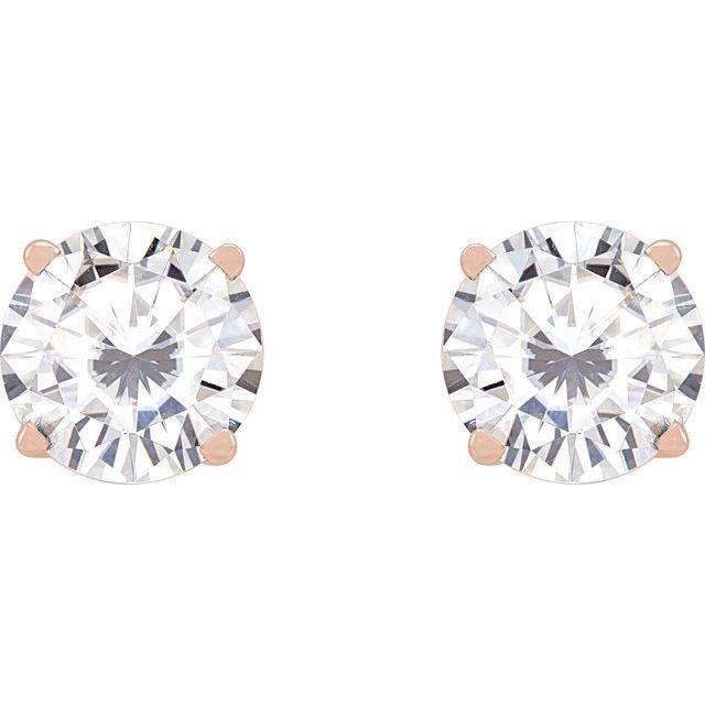 14K Rose 6.5 mm Round Stuller Lab-Created Moissanite™ Earrings